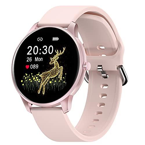 """CUBOT W03 Smartwatch Mujer, Reloj Inteligente, 1.28"""" pantalla táctil, impermeable IP68, podómetro con monitor de sueño, Ritmo Cardíaco, para Android / iOS.Rosa"""