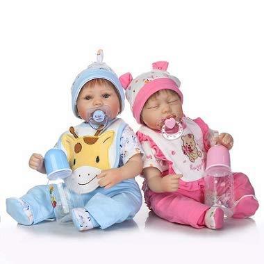 Pinky Reborn Réaliste et Main 17 Pouces 42 cm Doux Silicone Bébés Reborn Jumeaux Bébé Poupées Réaliste Vinyle Nouveau-Né Poupée Garçon Et Dormir Fille Jumeaux Cadeau De Noël (Twins)
