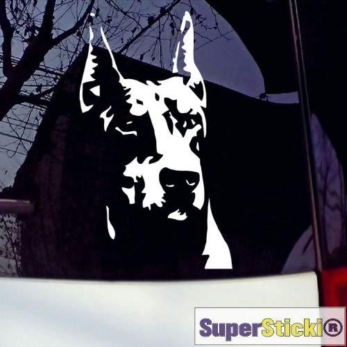 SUPERSTICKI Dobermann Kopf ca 20 cm Tuning Racing Rennsport Renndecal Aufkleber Sticker Decal aus Hochleistungsfolie Aufkleber Autoaufkleber Tuningaufkleber Racingaufkleber Rennaufkleber H