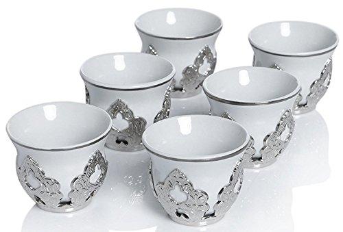 Set of 6 Arabic Turkish Greek Coffee Mirra Porcelain Cups with Holders Kava Gava (Silver)