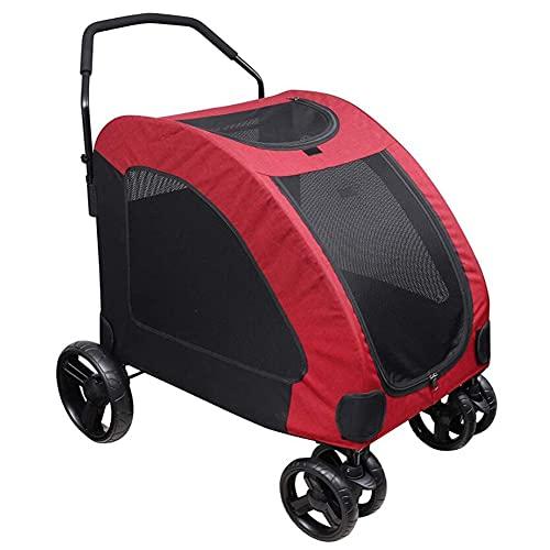 Angelay-Tian Pey Travel Stroller Dog Cat Removible, Fácil De Limpiar, Acceso A Múltiples Sitios, Cochecito De Viaje De Mascotas Seguro Y Confiable para Perros De Tamaño Grande Y Mediano Grandes 50 Kg