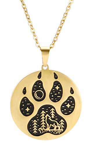 VASSAGO Collar de acero inoxidable con colgante de huella de lobo vikingo nórdico grabado con...