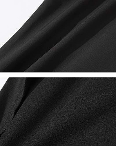 TACVASEN Casual Trousers Men Winter Outdoor Trousers Warm Fleece Hiking Cargo Trousers Black Zip Pockets