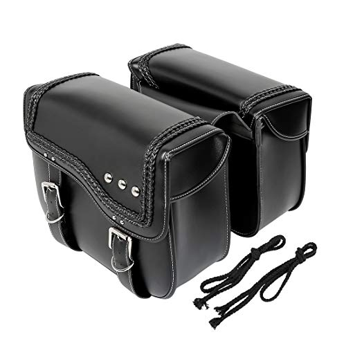 F FIERCE CYCLE 1 Pair Motorcycle Synthetic Leather Saddlebag Luggage Side Bag