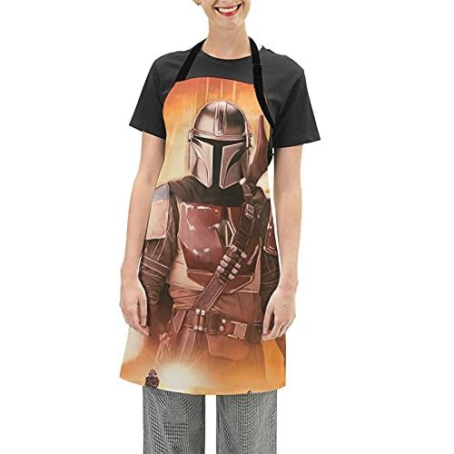 Darth Vader Baby Yoda Star The Wars Mandalorian Delantal de Cocina Novedad Divertido Mujeres y Hombres Hogar Cocina Hornear Delantal Impermeable Ajustable