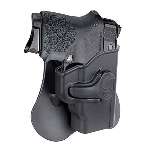 S&W M&P Bodyguard 380 Holster, OWB Paddle Holster Fits Smith & Wesson M&P Bodyguard 380 with Red Laser(Not Green Laser Model), Outside Waistband Gun Holster, 360° Adjustable - Right Handed