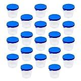 VILLCASE Vasos de Muestra de 100 Unidades Recipientes de Muestras de 40ML Botella de Muestra con Tapa Recipiente de Orina sin Etiqueta Tazas de Muestra para Pruebas de Laboratorio Uso de