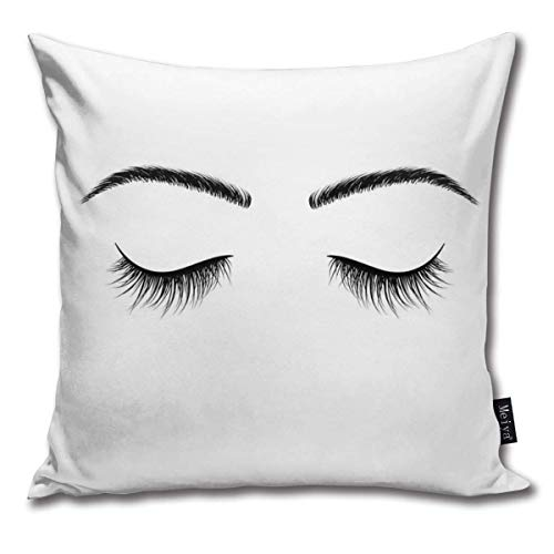AlineAline Throw Pillow Covers Closed Eyes Black Eyelashes False Eyelashes Vector Throw Pillow Cases Decorative Cushion Covers Pillowcases Square Pillow Covers 18x18inch