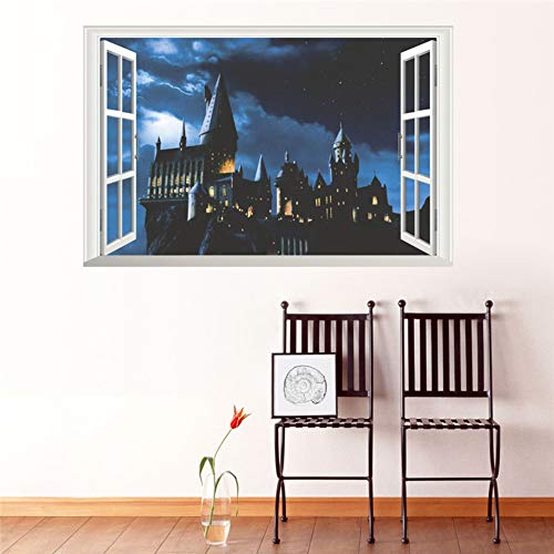 3d ventana castillo etiqueta de la pared decal harry potter pvc tatuajes de pared cartel mural arte decoración para el hogar