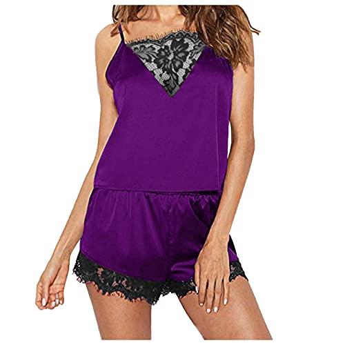 ANJUNIE Women Lingerie Set Sexy Bra and Panty Jumpsuit Lingerie Sets Lace Underwear Sleepwear Pajamas(1-Purple,Large)