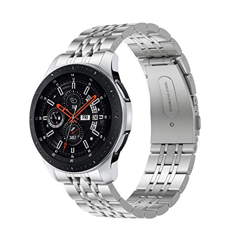 Syxinn Compatible con Correa de Reloj Gear S3 Frontier/Classic/Galaxy Watch 46mm Banda Pulseras de Repuesto, 22mm Acero Inoxidable Metal Pulsera para Gear S3/Galaxy Watch 46mm (Plata 1)