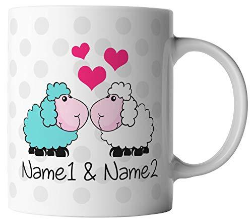 VanVerden Taza – oveja Ich liebe Dich Corazones – Nombre personalizable personalizable – Impresión por ambos lados – San Valentín idea regalo