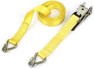 DealMux Amarelo 10 pés x 1 1,500 Limite lb Carga 2 J-Ganchos catraca de