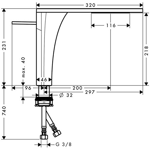 hansgrohe AXOR Massaud Waschtischmischer, Komfort-Höhe 220 mm - 3
