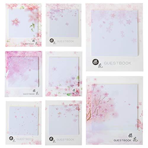Qirun Fresh Cherry Sakura Bloc de Notas Naturales Notas Adhesivas Lista de verificación de Compras Etiqueta de Material Escolar