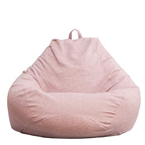 LDIW Sitzsack Bezug Hlle ohne Fllung, Baumwoll-Leinenstoff Sitzsackhlle für Kinder und Erwachsene,Rosa,100x120cm