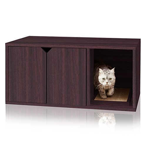 Way Basics Cat Litter Box Enclosed Modern Cat Furniture (Tool-Free Assembly and...