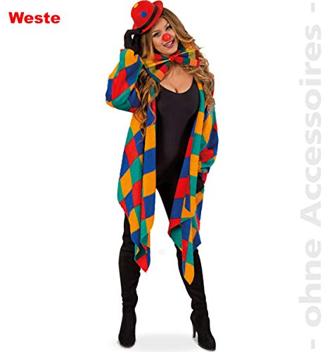 FRIES Clown Damenkostüm Harlekin Kostüm Karojacke Damen Narr Kostüm