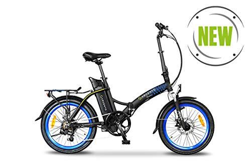 Argento Bicicletta elettrica Piuma Città Pieghevole, Unisex Adulto, Blu, 42