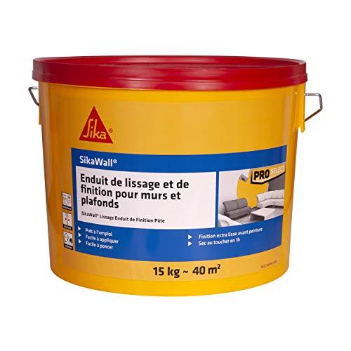 Sikawall - Alisador de acabado con revestimiento de alisado y acabado para paredes y techos de pasta, 15 kg