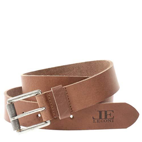 LECONI Ledergürtel für Damen & Herren Gürtel Vintage-Look 3,8cm breit dickes Büffel-Leder rustikal, pflanzlich gegerbt, vintage-braun LE8001 | 115cm