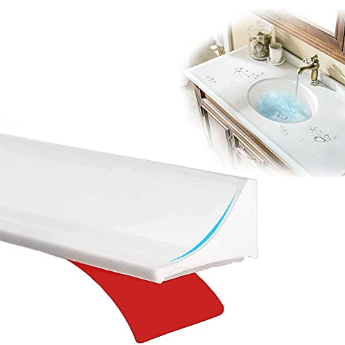 78 Inch Shower Splash Guard, Collapsible Silicone Threshold Water Dam Shower Door Seal, Rubber Bottom Seal Strip Water Stopper Shower Barrier for Kitchen Countertop, Garage, Bathtub Sink (White)