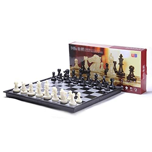Traje de ajedrez para Entrenamiento, Tablero magnético Plegable de 10'X10, portátil, Necesario para Viajar, Adultos, novicios, niños (Blanco) (Color : No, tamaño : Black+White)