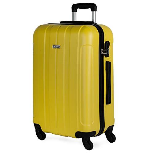 ITACA - Travel Case Rigid 4 ruote trolley 65 cm medio ABS. Resistente e leggero Maniglia, 2 maniglie e lucchetto. Studenti e professionisti 771160, Color Giallo