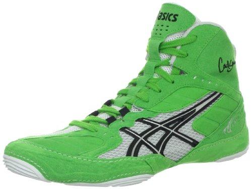 ASICS Men's Cael V5.0 Wrestling Shoe,Electric Green/Black/White,10.5 M US