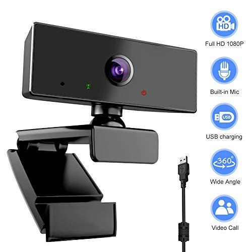 swonuk Full HD 1080P Cámara Web con Micrófono, Giratorio de 360 Grados, Computadora Webcam para Videollamadas, Estudio, Clase en línea, Conferencias, Grabación, Juegos