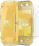 ProCase Schutzhülle + (2 Stück) Panzerglas für Nintendo Switch Lite 2019, Weich dünn TPU Stoßfest Klar Hülle + 2 Hartglas Blasenfrei Displayschutzfolien aus gehärtetem Glas –Klar