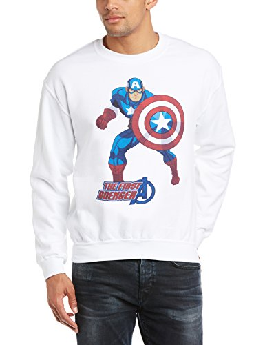 Marvel Avengers Assemble Captain America The First Avenger Sudadera, Blanco, XL para Hombre
