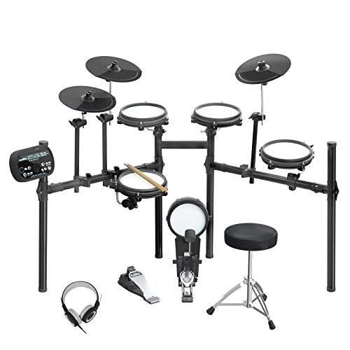LAGRIMA LAG-710 Mesh Kit Electric Drum Set, 8 Piece Electronic Drum Kit with Adjustable Drum Throne, Headphones, Drumstick, Connection Cables, Solid Support Set