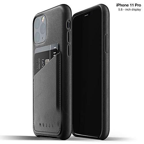 Mujjo - Funda de Piel Tipo Cartera para Apple iPhone 11 Pro, 2 y 3 Bolsillos para Tarjetas, Piel Suave, Efecto único Natural envejecimiento (Negro)