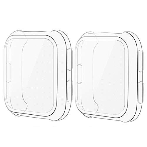 CAVN Hülle Kompatibel mit Fitbit Versa Schutzhülle Schutzfolie [2 Stück], Flexibles TPU Vollschutz Display Schutz Full Coverage Stoßfestes Displayschutz Hülle (Nicht für Versa 2 / Versa Lite)