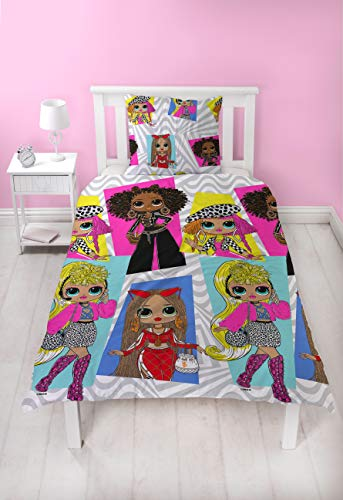 Character World L.O.L Surprise OMG! Single Duvet Cover Design | Buzz Girls Design Two Sided Bedding Duvet Cover With Matching Pillow Case