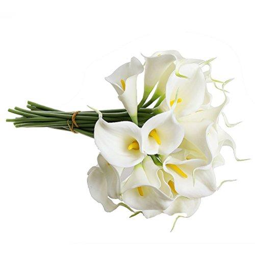 LEORX 10 ramos de flores artificiales de poliuretano para bodas y bodas (blanco)