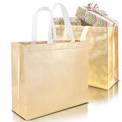 Set of 15 Stylish Reusable Grocery Bags Christmas Shopping Tote Bag Non-woven Durable Fabric Gift Bag with Handle Glossy Present Bag For Party Event, Birthday Wedding ( Silver, Gold Rose, Gold)