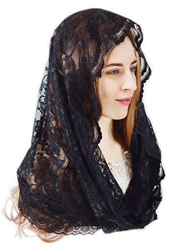 PAMOR Damen unendlichkeit blumen veils schal schleier kopfbedeckung latin mass spitze mantilla mit kostenloser haarspange One Size Schwarz