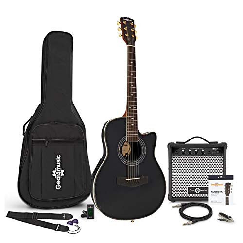 Roundback Electro Acoustic Guitar + 15W Amp Pack, Bl