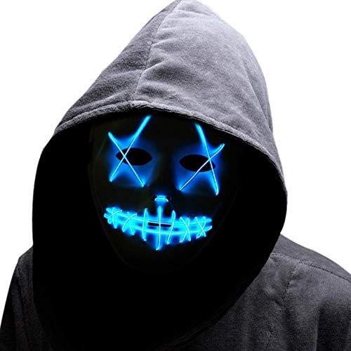 CXSMKP Máscara Led Máscara De Traje Led Cosplay, Máscara De Miedo De Halloween Encender El Alambre Máscara De Miedo para Festival Cosplay Mascarada Fiestas, Carnaval, Regalos,Azul