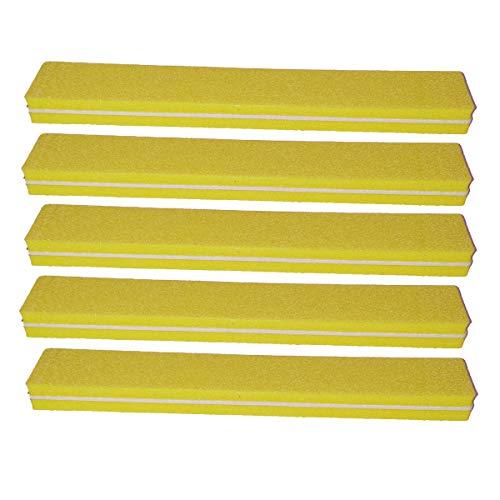 5 pièce Tampon Lime À Ongles Jaune Largeur Droite - Fichier Tampon Pour Salon De Ongles - 100/180 Grit - Tampon Professionnel