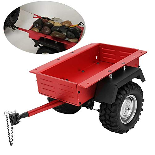 Dilwe RC Car Anhängerkupplung Anhänger im Maßstab 1/10 Aluminiumlegierung Modell Kinderspielzeug Fit für TRAXXAS TRX4 TRX6 RC Car(rot)