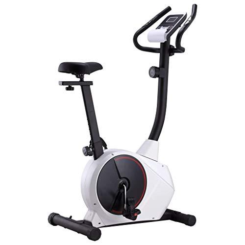 Ksodgun Bicicleta elíptica magnética con pulsómetro Entrenador elipses Fitness Gimnasio en casa Entrenamiento Bicicleta estática en Blanco y Negro