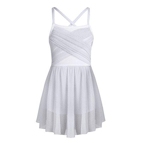 Inlzdz - Disfraz de baile lírico para niñas y niñas, diseño moderno de malla, con tutú de ballet latino, Unisex niños, color blanco, tamaño 9-10 años