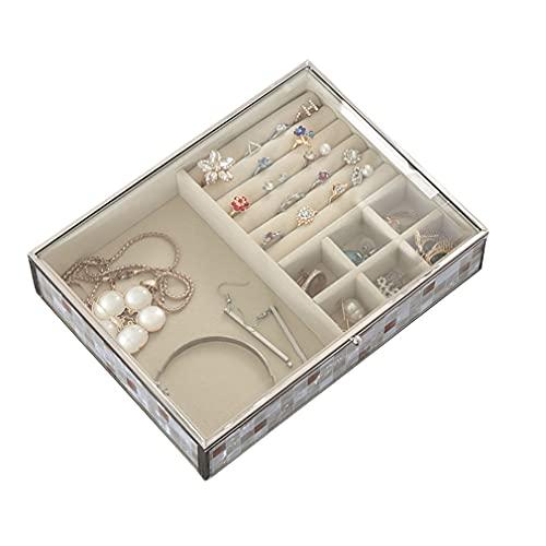 Organizador Cajas Joyería, Organizador Cajas Almacenamiento Joyas, Estuche Anillos con Cubierta Vidrio, para Collares, Pendientes, Pulseras, Accesorios, para Mujeres Y Niñas, Señoras