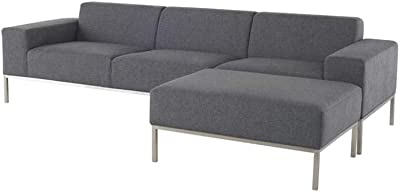 Amazon.com: Nuevo Benson Triple Seat Sofa in Black and Gray ...