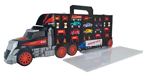 Dickie Toys 203749023 Carry Case, Truck mit Tragegriff inkl. 7 Spielzeugautos und Helikopter & Zubehör, 62 cm, ab 3 Jahren