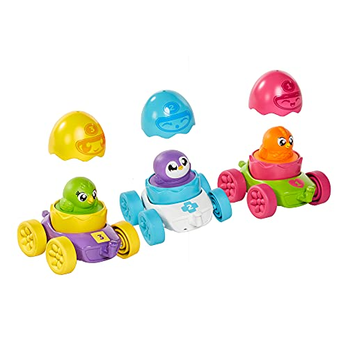 Tomy Hide & Squeak Egg Racers Multi Pack–3 Cute Squeaking Egg Characters to Collect – Color Matching, Number Counting & Shape Sorting – Cars Connect to Each Other and All Hide & Squeak Vehicles