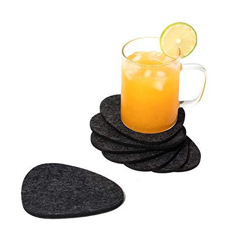 chillify Filz-Untersetzer für Getränke, Stein-Design - Dunkelgrau, 8er-Set - Rutschfestes, hitzebeständiges, waschbares Untersetzer-Set - Untersetzer für Tassen, Garten, Bier, Tisch, Kaffee usw.